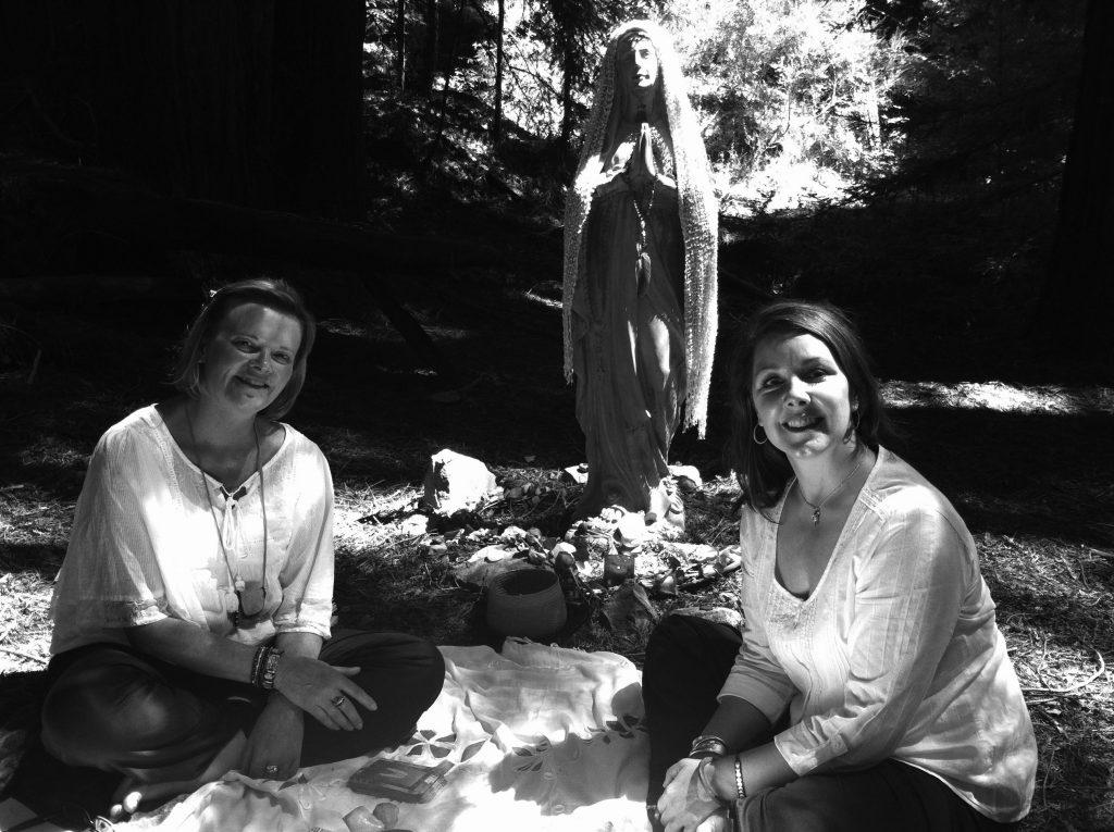 Lisa Angel Reading in redwoods gray